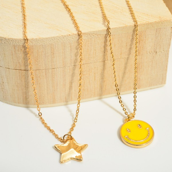 """Gold Smiley Face Pendant Necklace.  - Approximately 8.5"""" in Length - Extender 3"""" in Length"""