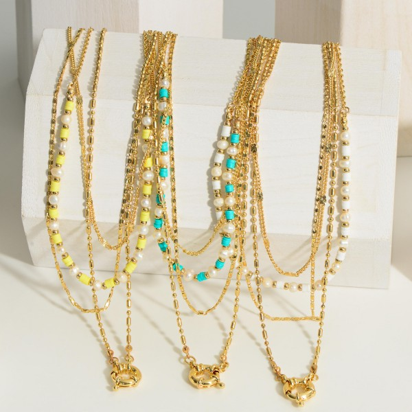 """Gold Layered Necklace featuring Pearl and Beaded Accents.  - Approximately 9"""" in Length - Extender 3"""" in Length - Lobster Claw Closure"""
