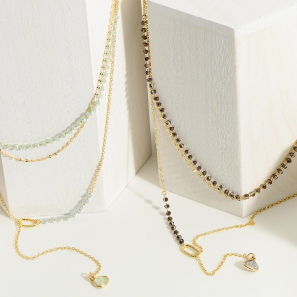 """Gold Layered Necklace featuring Beaded Accents.   - Approximately 12"""" in Length - Extender 3"""" in Length"""