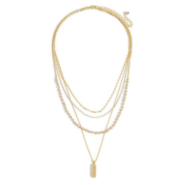"""Gold Layered Pendant Necklace featuring Beaded Accents.   - Approximately 9.5"""" in Length - 3"""" Adjustable Extender"""