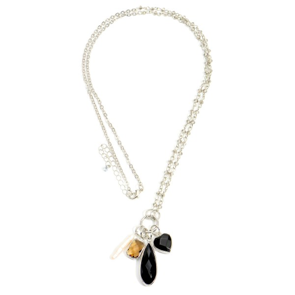 """Long Pendant Necklace Featuring Beaded Natural Stone Accents.  - Approximately 14"""" in Length"""