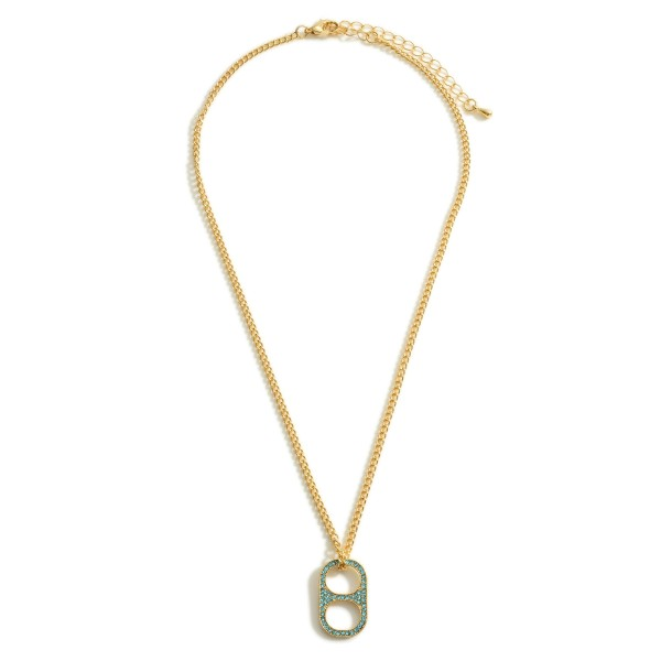 """Gold Chain Necklace Featuring a Soda Tab Pendant with CZ Accents.  - Approximately 8"""" in Length"""