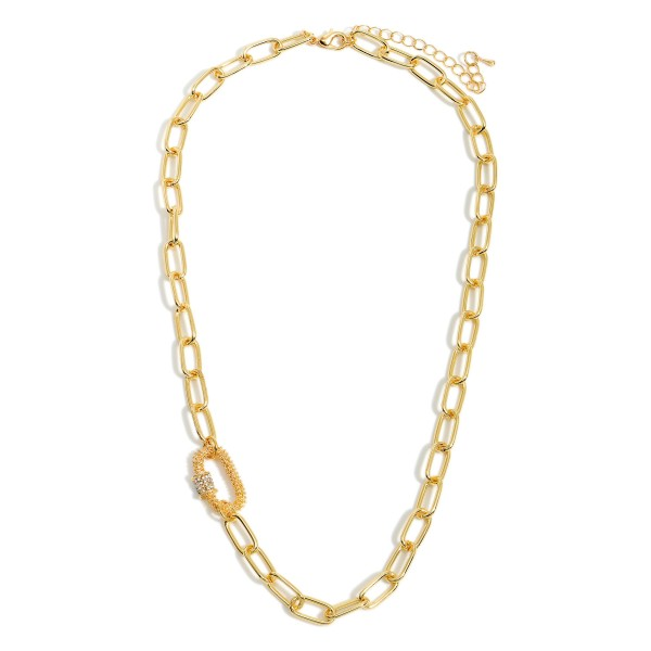 """Short Metal Chain Necklace Featuring Rhinestone Adorned Accent.   - Approximately 18"""" Long"""