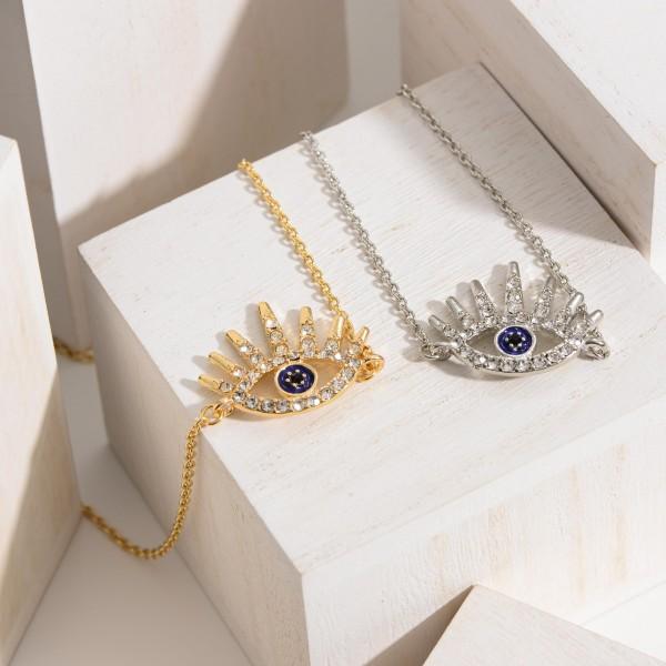 "Short Necklace Featuring CZ Adorned Evil Eye Pendant.   - Approximately 18"" Long"