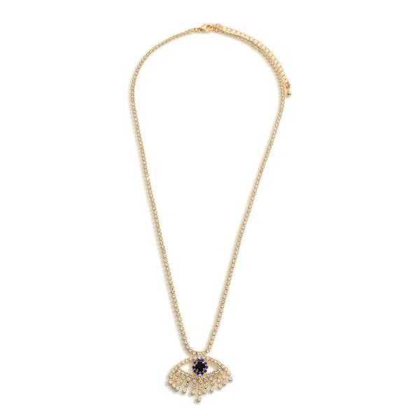 "Rhinestone Adorned Necklace Featuring Evil Eye Pendant.   - Approximately 18"" Long"