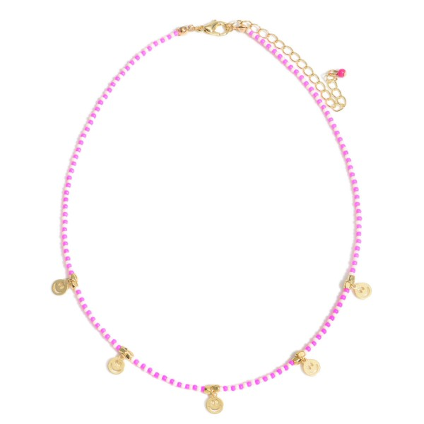 """Beaded Necklace Featuring Smiley Face Accccents.  - Approximately 7"""" in Length"""