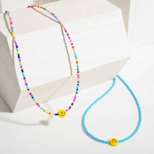 """Beaded Necklace Featuring a Smiley Face Pendant.  - Approximately 7"""" in Length"""