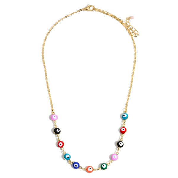 """Multi Evil Eye Beaded Necklace in Gold.  - Approximately 7"""" in Length - 2.5"""" Adjustable Extender"""