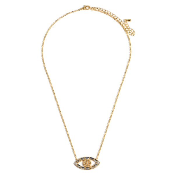 """Gold Evil Eye Pendant Necklace featuring Crystal Accents.  - Approximately 7.5"""" L - 3"""" Adjustable Extender"""