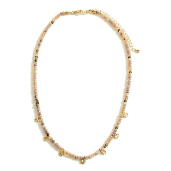 """Gold Beaded Necklace Featuring CZ Disk Accents.  - Approximately 6"""" in Length"""