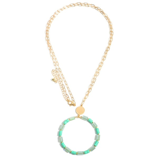 """Long Gold Necklace Featuring a Circular Pendant with Beaded Accents.  - Approximately 17.5"""" in Length - Extender Approximately 3"""" in Length"""