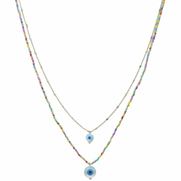 """Layered Necklace Featuring Beaded Accents and Evil Eye Pendants.   - Approximately 18"""" Long"""