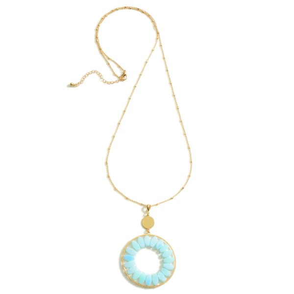Wholesale long Gold Necklace Circular Pendant Beaded Accents Extender