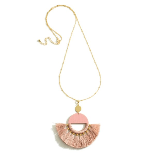 """Long Gold Necklace Featuring a Tassel Crescent Pendant.  - Approximately 18"""" in Length - Extender Approximately 3"""" in Length"""