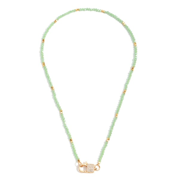 """Short Beaded Necklace Featuring Gold Padlock Pendant with CZ Accents.  - Approximately 7"""" in Length - Extender Approximately 3"""" in Length"""