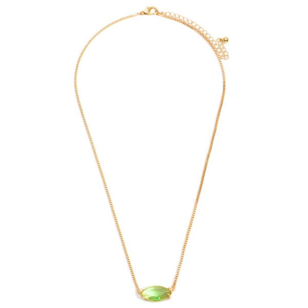 """Short Gold Necklace Featuring a Crystal Pendant.  - Chain Approximately 16"""" in Length - Extender Approximately 3"""" in Length"""
