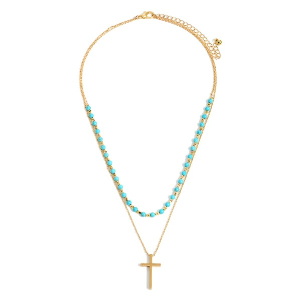 """Double-Stranded Necklace Featuring Beaded Accents and Cross Pendant.   - Approximately 18"""" Long"""
