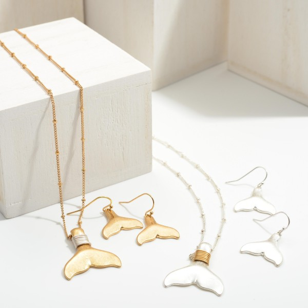 """Short Two Tone Metal Necklace Featuring a Mermaid Tail Pendant with Matching Drop Earrings.  - Approximately 8"""" in Length - Extender Approximately 3"""" in Length - Comes with Matching Mermaid Tail Drop Earrings"""