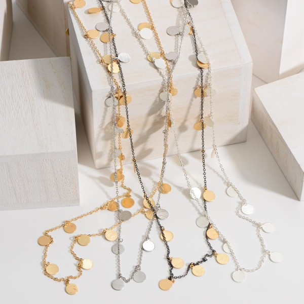 """Long Necklace Featuring Metal Accents.   - Approximately 40"""" Long"""