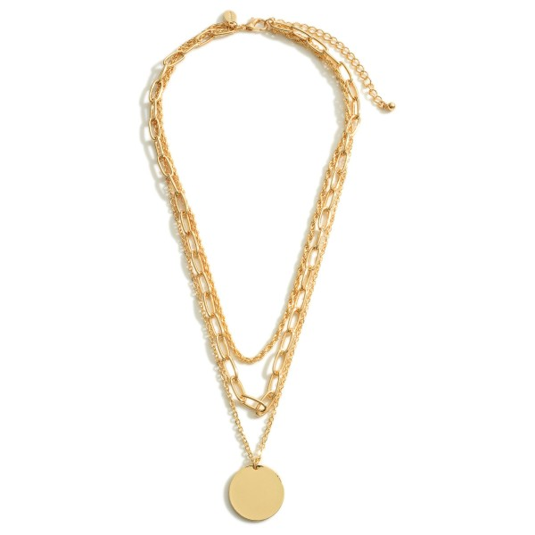 """Layered Chain Link Necklace Featuring Circle Pendant.   - Approximately 20"""" Long"""