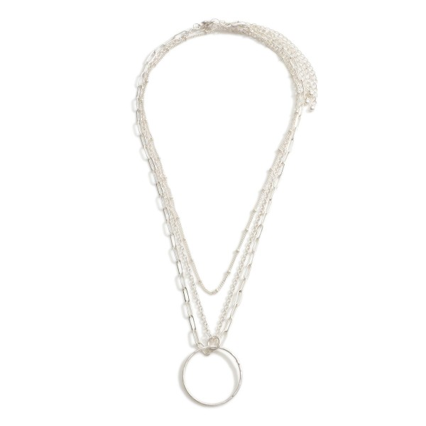 """Layered Necklace Featuring Circle Pendant.  - Approximately 18"""" Long"""