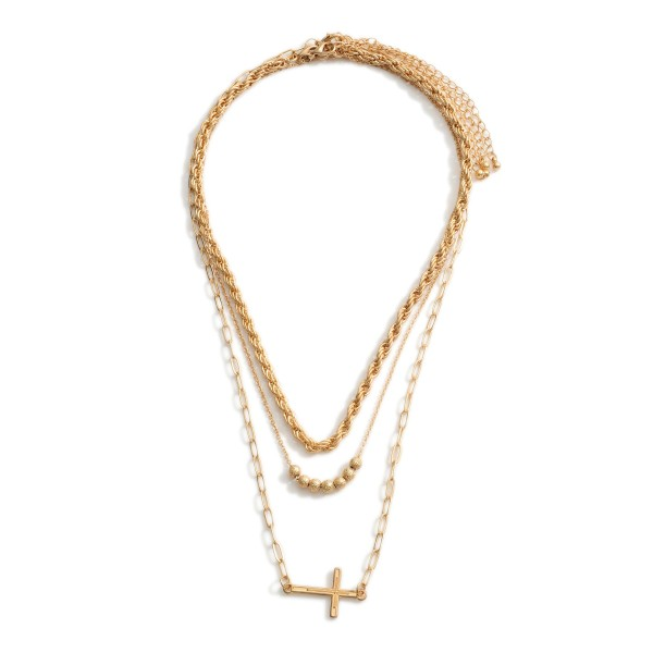 """Layered Chain Link Necklace Featuring Cross Pendant.   - Approximately 18"""" Long"""