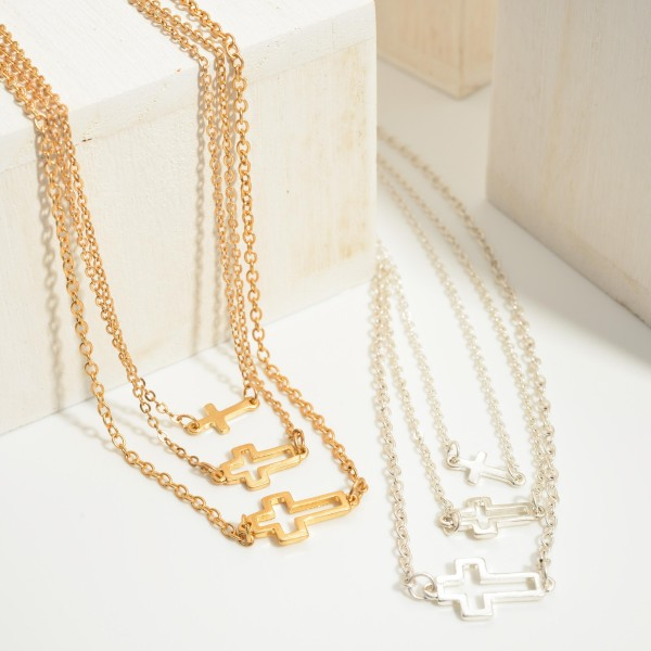 """Set of Three Short Metal Necklaces Featuring Cross Pendants.   - Necklaces Approximately 16"""", 18"""", and 20"""" Long"""