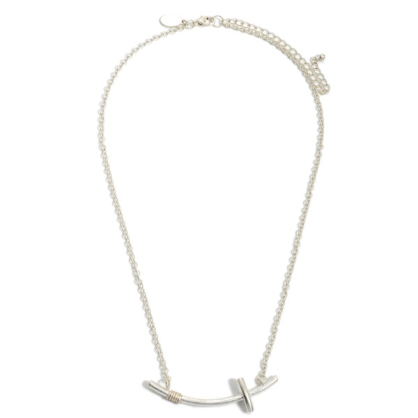 """Short Metal Necklace Featuring Curved Cross Pendant.   - Approximately 18"""" Long"""