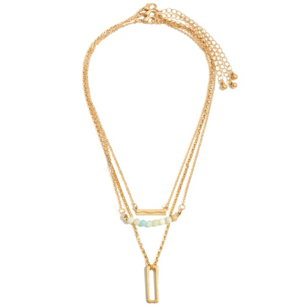 """Layered Metal Necklace Feating Natural Sone Accents and a Rectangular Pendant.  - Approximately 8.5"""" in Length - Extender Approximately 3"""" in Length"""