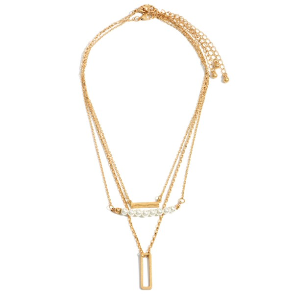 """Layered Metal Necklace Feating Pearl Accents and a Rectangular Pendant.  - Approximately 8.5"""" in Length - Extender Approximately 3"""" in Length"""