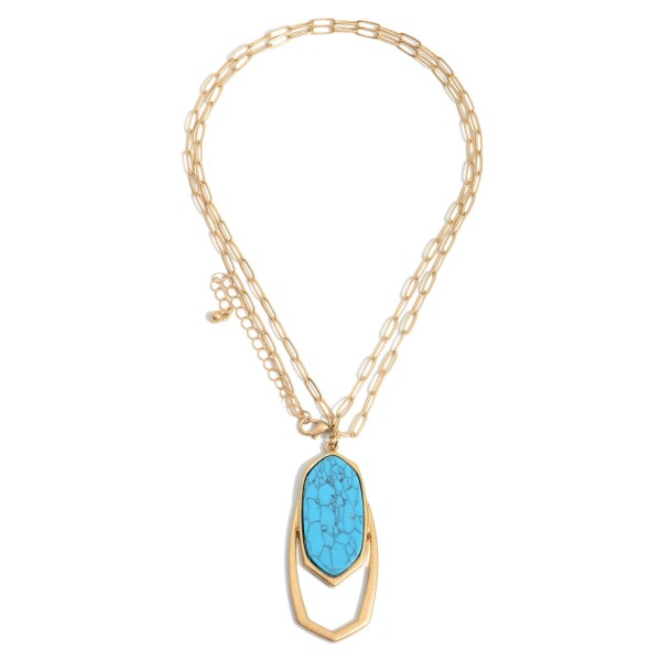 """Long Chain Necklace Featuring a Natural Stone Pendnat.  - Approximately 17"""" in Length - Extender Approximately 3"""" in Length"""