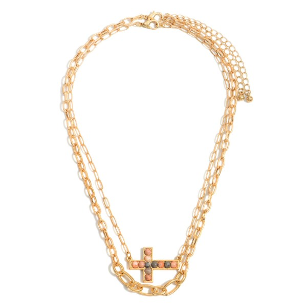"""Chain Link Layered Necklace Featuring a Cross Pendant with Natural Stone Accents.   - Approximately 7.5"""" in Length - Extender Approximately 3"""""""