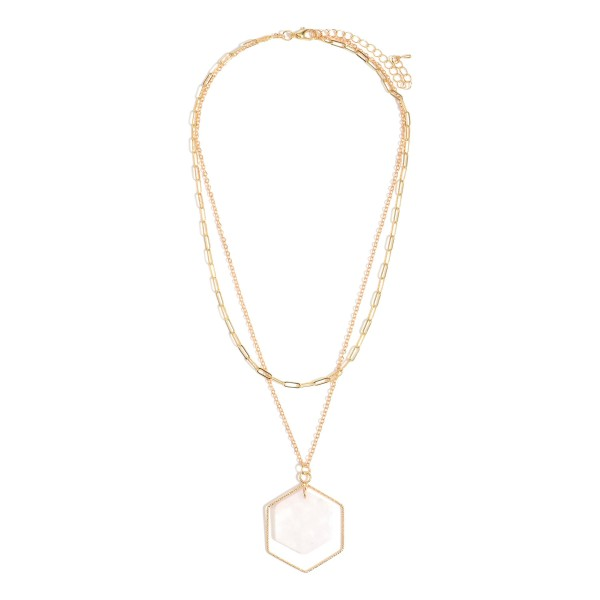 """Double Layered Metal Necklace Featuring Natural Stone Pendant.   - Approximately 24"""" Long"""
