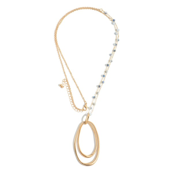 """Long Necklace Featuring Metal Pendant and Beaded Accents.   - Approximately 36"""" Long"""