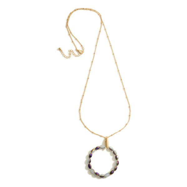 Wholesale long Metal Necklace Beaded Round Pendant Long