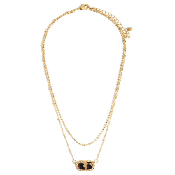 """Gold Layered Necklace Featuring a Glass Pendant.  - Approximately 8.5"""" in Length"""