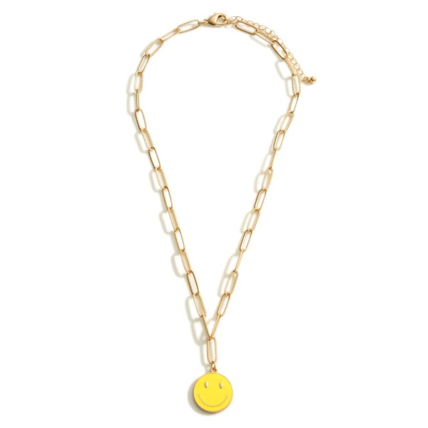 """Gold Chain Link Necklace Featuring a Smiley Face Pendant.  - Approximately 9.5"""" in Length - Extender Approximately 3"""" in Length"""
