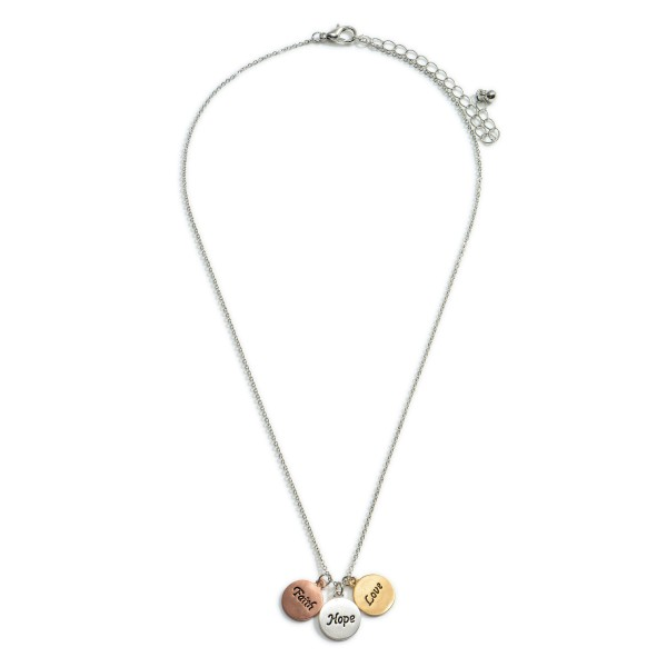 """Short Necklace Featuring Metal Circle Pendants that Say """"Faith, Hope, Love"""".   - Approximately 18"""" Long"""