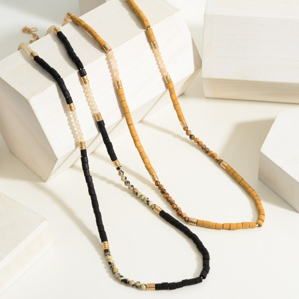 """Long Wooden Beaded Necklace Featuring Gold Accents.  - Approximately 15"""" in Length - Extender Approximately 3"""" in Length"""