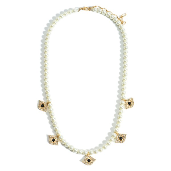 """Short Beaded Necklace Featuring Evil Eye Pendants with CZ Details.   - Approximately 18"""" Long"""