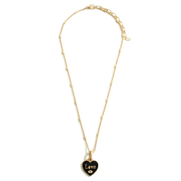 """Gold Necklace Featuring a Heart Pendant that Says """"Love""""  - Approximately 9.5"""" in Length Long Wooden Beaded Necklace Featuring Gold Accents.  - Approximately 15"""" in Length - Extender Approximately 3"""" in Length"""