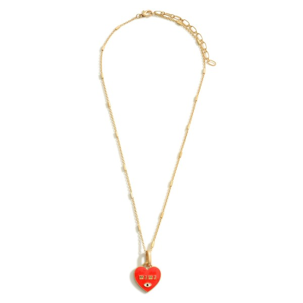 """Gold Necklace Featuring a Heart Pendant that Says """"Mama""""  - Approximately 9.5"""" in Length Long Wooden Beaded Necklace Featuring Gold Accents.  - Approximately 15"""" in Length - Extender Approximately 3"""" in Length"""