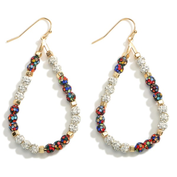 """Teardrop Earrings Featuring Beaded Iridescent Accents.   - Approximately 2.5"""" Long"""