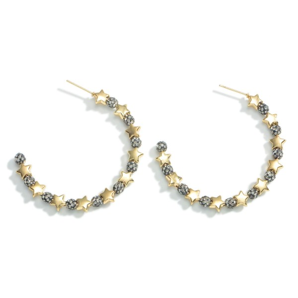 """Iridescent Hoop Earrings Featuring Bead Accents and Star Details.   - Approximately 1.75"""" in Diameter"""