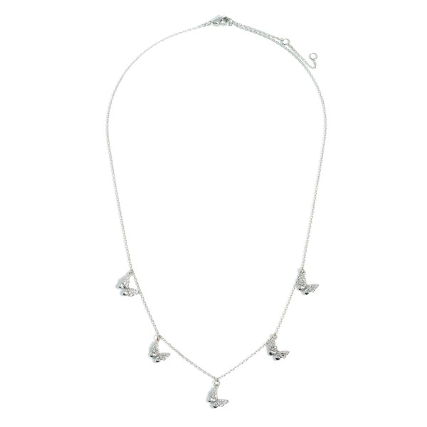 """White Gold Dipped Necklace featuring Rhinestone Butterfly Charms.  - White Gold Dipped - Adjustable Lengths: 15.5"""", 16.5"""", and 17.5"""""""