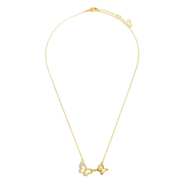 """Gold Dipped Necklace featuring Rhinestone Butterfly Charms.  - Gold Dipped - Adjustable Lengths: 15.5"""", 16.5"""", and 17.5"""""""