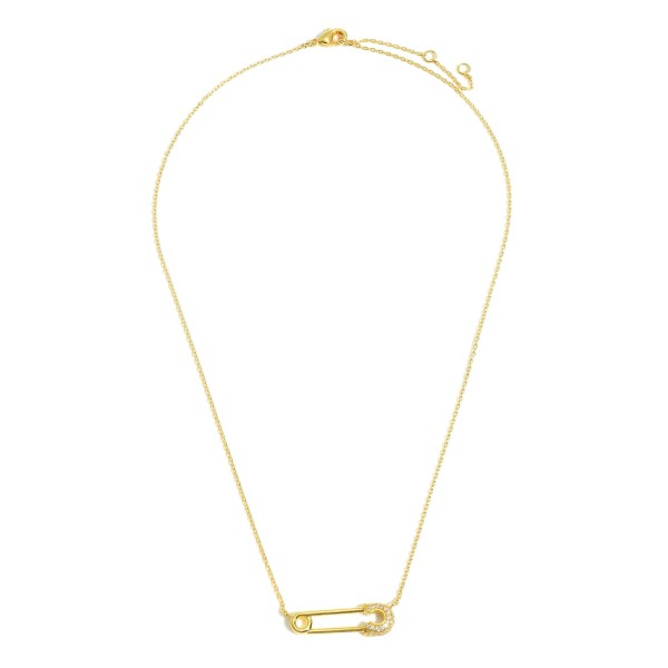 """Gold Dipped Necklace featuring a Rhinestone Safety Pin Charm.  - Gold Dipped - Adjustable Lengths: 15.5"""", 16.5"""", and 17.5"""""""