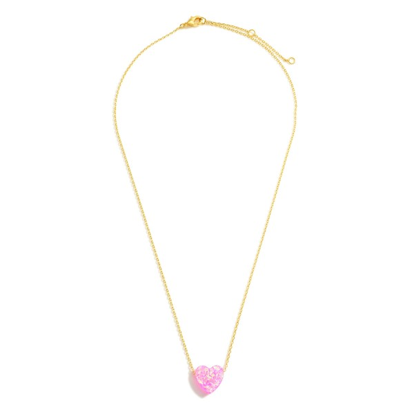 """Gold Dipped Resin Heart Necklace.  - Gold Dipped - Adjustable Lengths: 15.5"""", 16.5"""", and 17.5"""""""