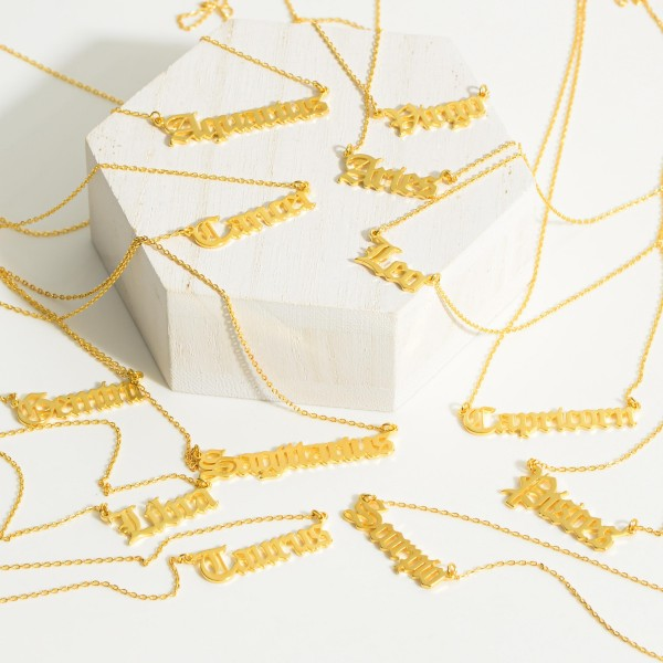 """Gold Dipped Zodiac Necklace.  - Gold Dipped - Adjustable Lengths: 15.5"""", 16.5"""", and 17.5"""""""