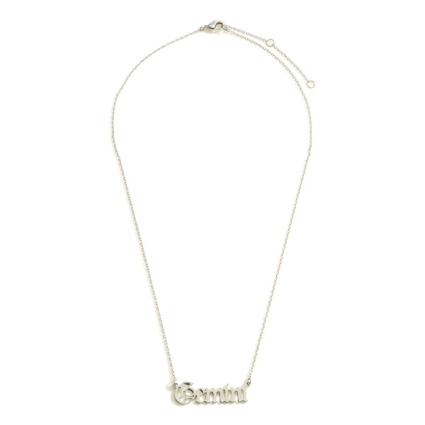 """White Gold Dipped Zodiac Necklace.  - White Gold Dipped - Adjustable Lengths: 15.5"""", 16.5"""", and 17.5"""""""
